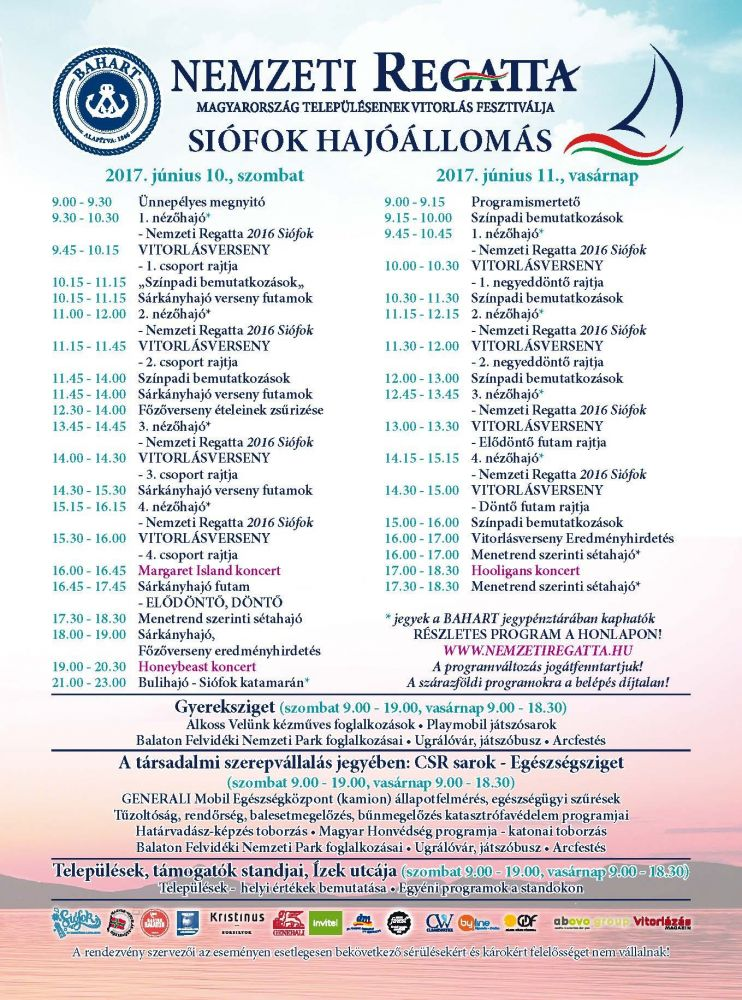 Nemzeti regatta 2017 program